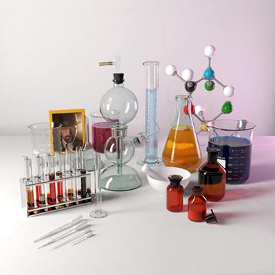 现代化学实验试管量杯组合3D模型【ID:36981610】