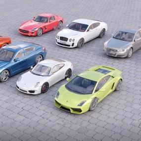 现代跑车组合3D模型【ID:36983917】