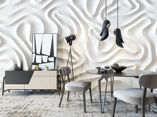 现代圆形餐桌椅边柜吊灯摆件组合3D模型【ID:36989749】
