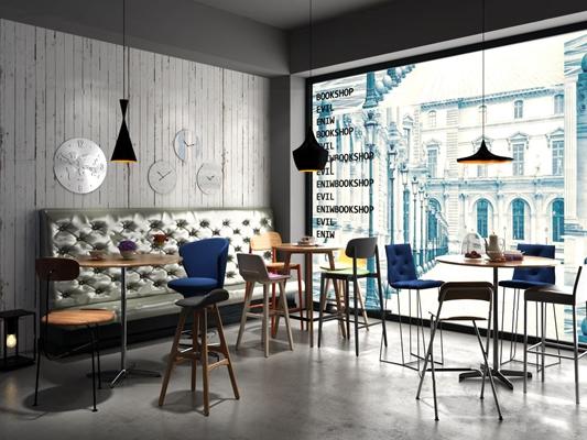 工业风实木圆桌吧椅吊灯组合3D模型【ID:36997660】