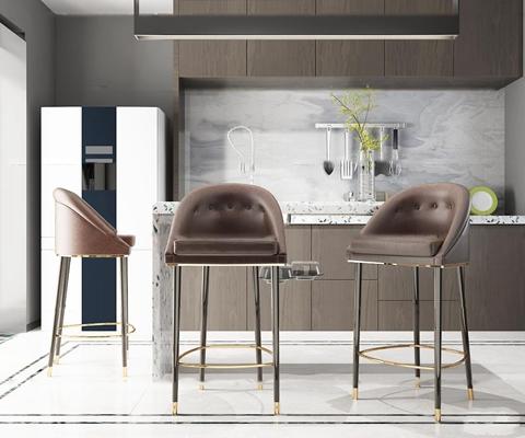 现代皮革吧椅橱柜厨具冰箱3D模型【ID:36999117】