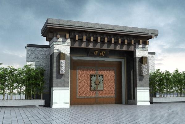 传统中式门头3D模型【ID:724879571】