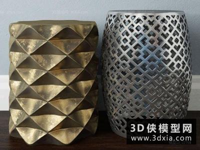现代金属凳子国外3D模型【ID:329408885】