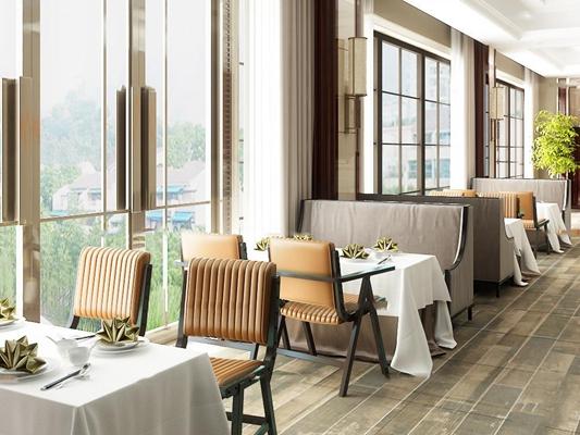 现代西餐厅专用餐桌椅卡座3D模型【ID:37003840】