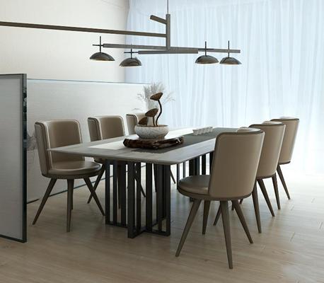 新中式餐桌椅3D模型【ID:37003844】