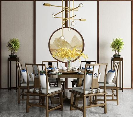 新中式餐桌椅3D模型【ID:37004442】