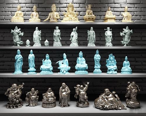中式佛像雕塑观音财神关公组合3D模型【ID:37013985】