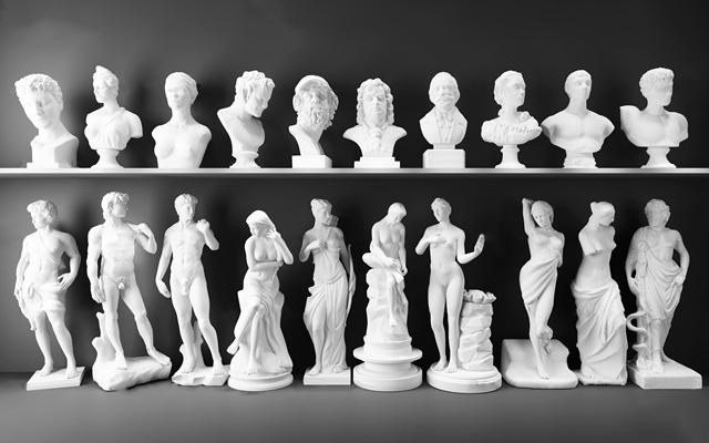 欧式石膏人物雕塑大卫阿格里巴伏尔泰海盗凯撒大帝马赛曲断臂维纳斯组合3D模型【ID:37014381】