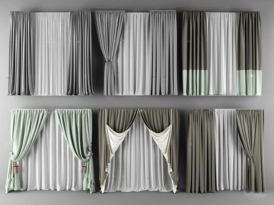 现代高级灰布艺窗帘组合3D模型【ID:37015780】