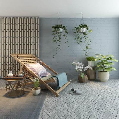 现代户外休闲椅茶几绿植组合3D模型【ID:37018638】