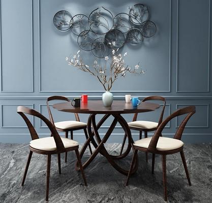 现代实木圆餐桌椅挂件组合3D模型【ID:37018947】