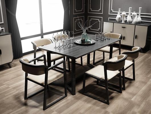 现代餐桌椅餐边柜组合3D模型【ID:37019748】