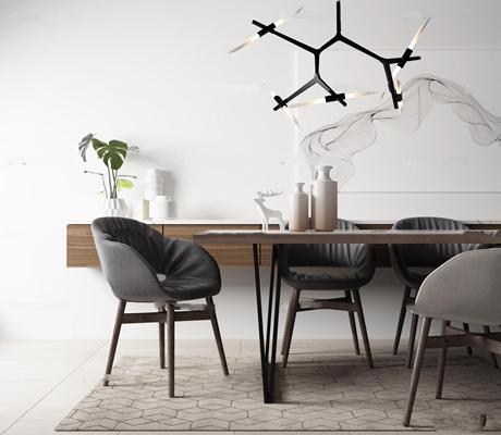 北欧餐桌椅枝形吊灯绿植花瓶摆件3D模型【ID:37025447】