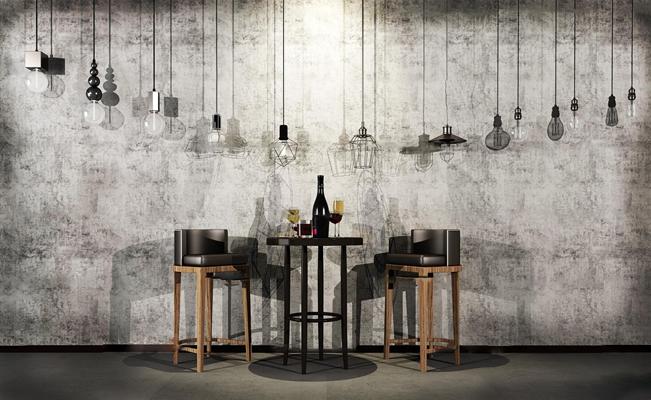 北欧皮革吧台椅圆几红酒灯泡吊灯铁艺吊灯3D模型【ID:37028666】