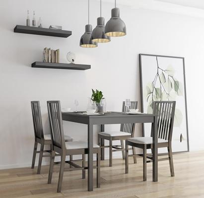 北欧餐桌椅吊灯装饰画组合3D模型【ID:37034242】
