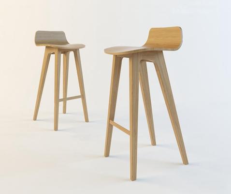 北欧实木吧台椅3D模型【ID:37036516】