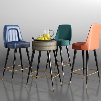 现代皮革吧台椅柠檬果汁托盘组合3D模型【ID:37040918】