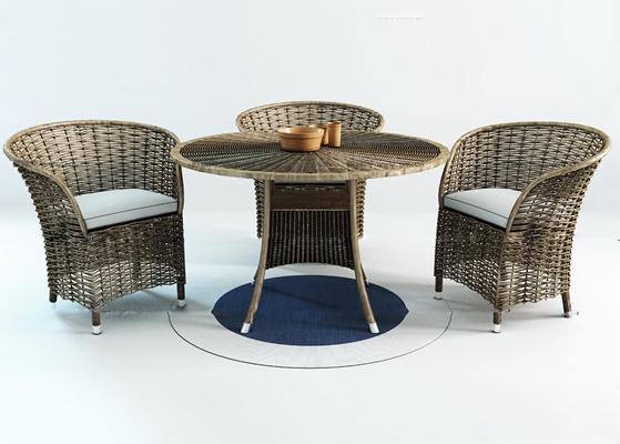 现代藤编户外休闲椅茶几组合3D模型【ID:37041232】
