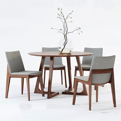 现代圆形餐桌椅组合3D模型【ID:37041741】