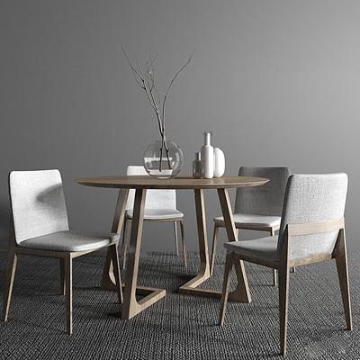 北欧实木圆形餐桌椅摆件组合3D模型【ID:37042242】
