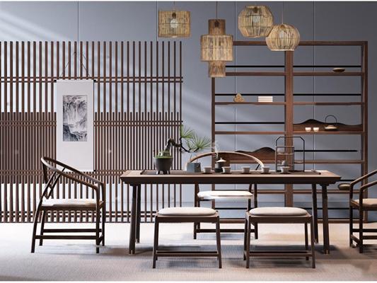 新中式实木泡茶桌椅吊灯屏风组合3D模型【ID:37045964】