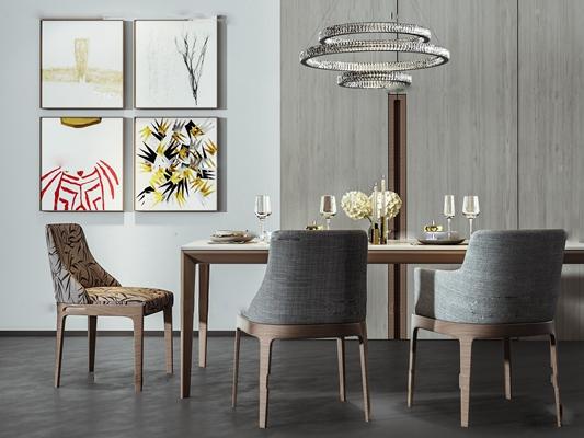 现代餐桌椅装饰画组合3D模型【ID:37047043】