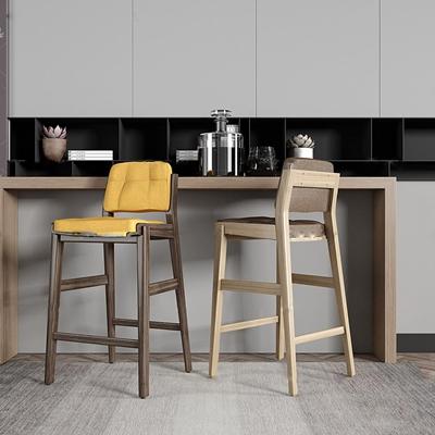 现代皮革布艺吧台椅摆件组合3D模型【ID:37047110】