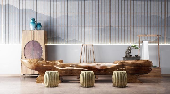 新中式茶室泡菜桌椅组合3D模型【ID:37048960】