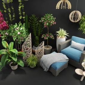 现代绿萝富贵竹三角梅盆栽休闲沙发组合3D模型【ID:37049782】