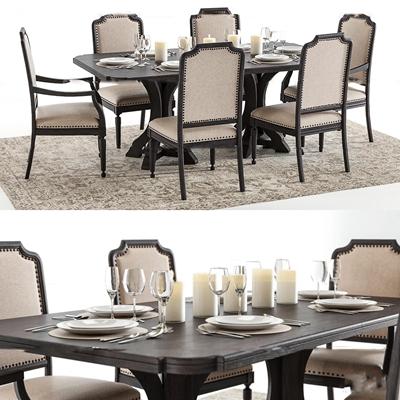 美式实木餐桌椅餐具组合3D模型【ID:37050344】