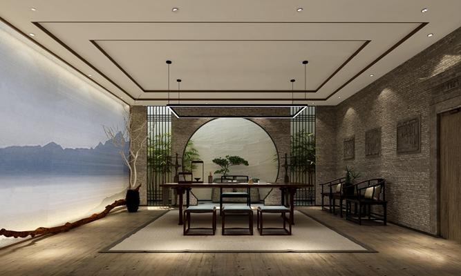 新中式茶室屏风组合3D模型【ID:37052046】