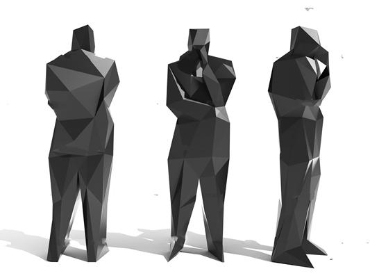 现代抽象人物雕塑3D模型【ID:37057982】