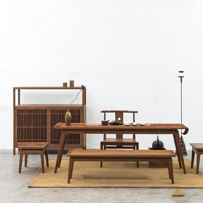 新中式禅意泡茶桌椅茶具装饰柜组合3D模型【ID:37058363】