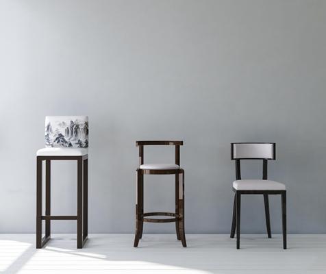 新中式吧台椅单椅组合3D模型【ID:37058812】