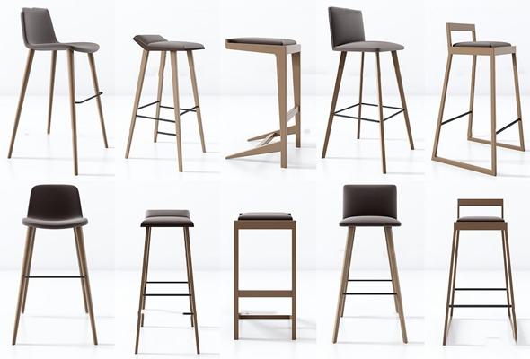 现代实木吧台椅组合3D模型【ID:37062215】