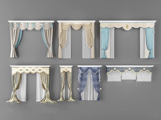 欧式布艺窗帘卷帘组合3D模型【ID:37062982】