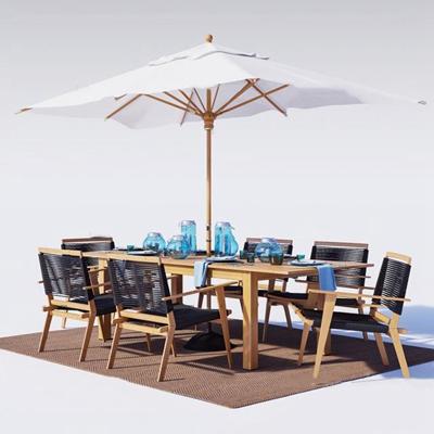 现代实木户外餐桌椅餐具落地伞组合3D模型【ID:37063169】
