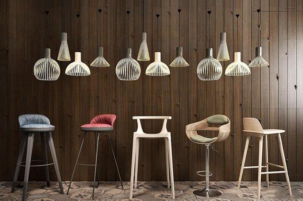 美式实木吧椅吊灯组合3D模型【ID:37065913】