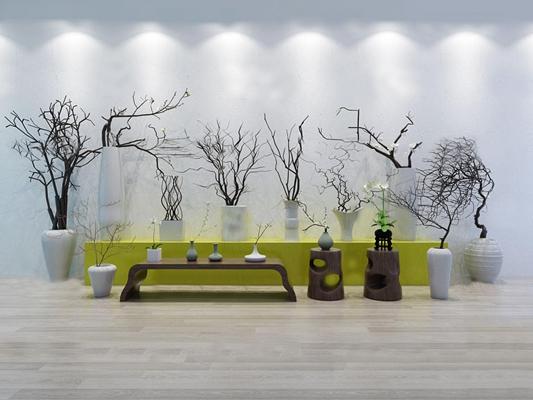 中式花瓶干枝盆栽花架组合3D模型【ID:37068389】