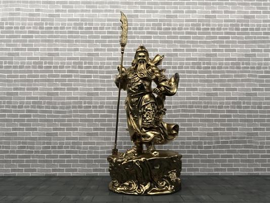 中式武圣关公雕塑3D模型【ID:37069087】