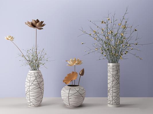 现代花瓶装饰组合3d模型