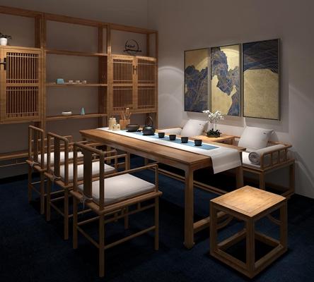 新中式茶台单椅装饰柜组合3D模型【ID:37070165】