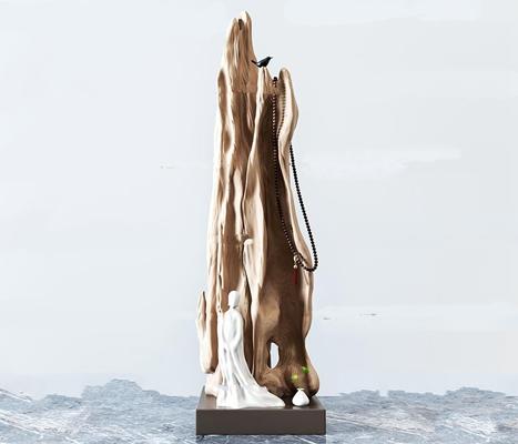 中式人物枯木雕塑摆件3D模型【ID:37071888】