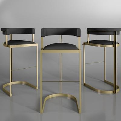 现代金属皮革吧椅组合3D模型【ID:37072014】