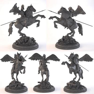 欧式人物奔马雕塑3D模型【ID:37073089】