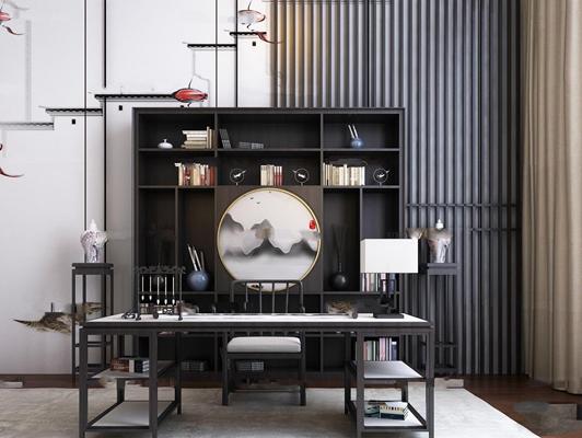 中式实木书桌椅书柜组合3D模型【ID:37077467】