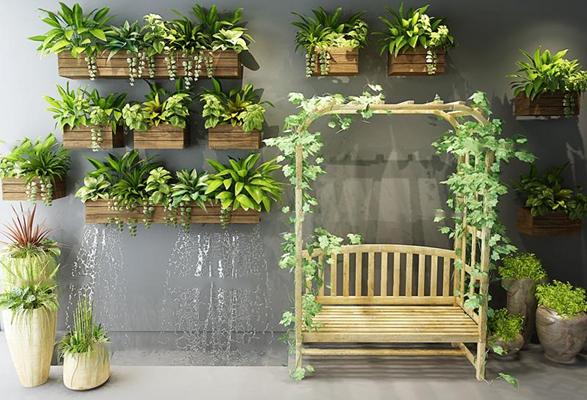 现代盆栽藤蔓户外休闲椅组合3D模型【ID:37080989】