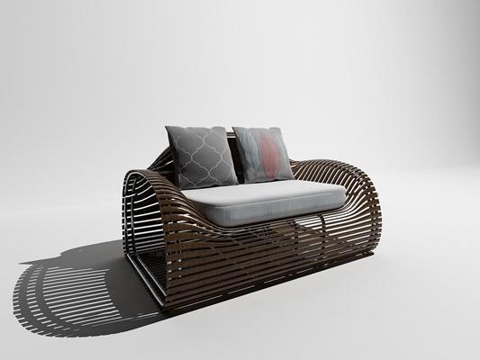 现代实木休闲户外椅3D模型【ID:37081731】