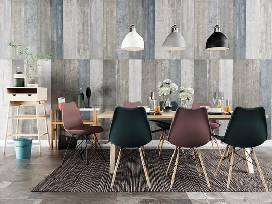 北欧实木餐桌椅餐边柜吊灯组合3D模型【ID:37081947】
