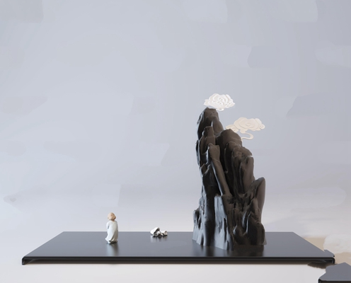 新中式假山人物雕塑摆件3D模型【ID:37082980】